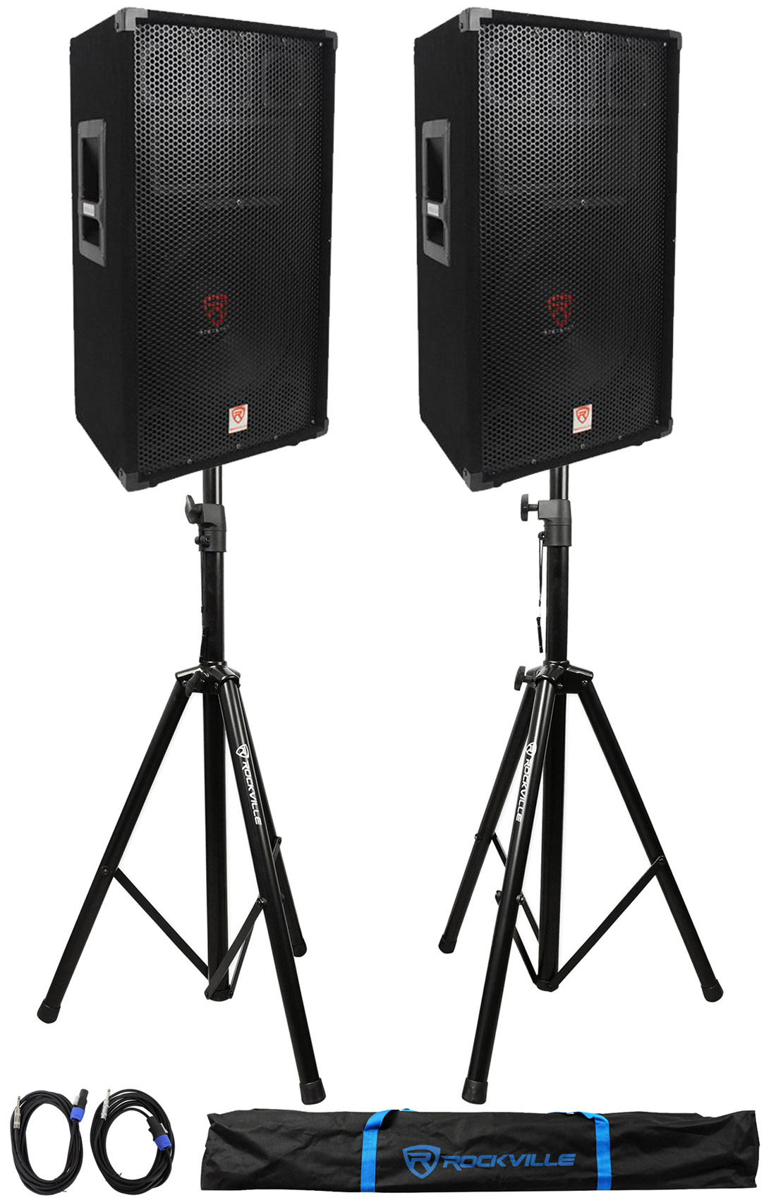(2)Rockville RSG12 12� 3Way 1000 Watt 8Ohm Passive DJ PA Speaker +Stands +Cables by ROCKVILLE