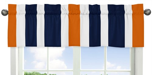 Navy Blue, Orange and White Window Treatment Valance for Stripes Bedding Collection by Sweet Jojo Designs