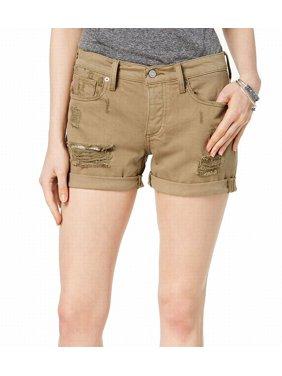 LUCKY BRAND Womens Green Ripped Cotton Denim Short  Size: 4