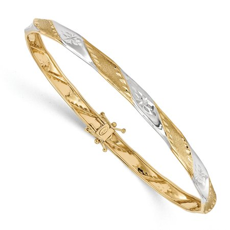 5mm 14k Yellow Gold White Rhodium Polished Satin Diamond-cut Flexible Bangle Bracelet (Black Diamond White Gold Bangles)