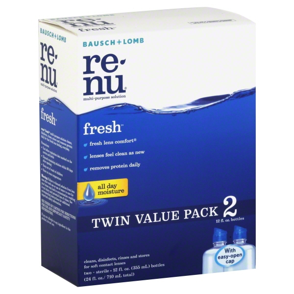 Bausch & Lomb Re-Nu Fresh Multi-Purpose Solution Twin Value Pack, 12 fl oz, 2 count