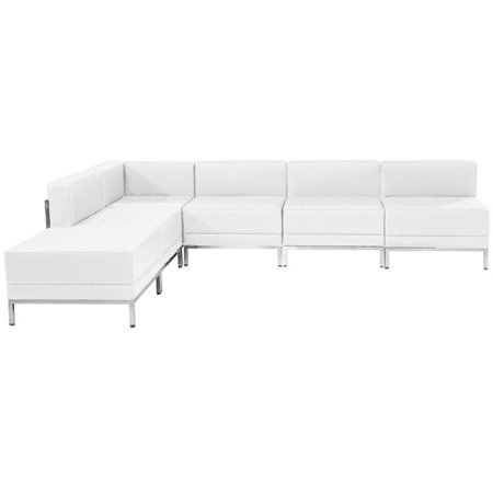 Flash Furniture Imagination 6 Piece Leather Sectional Set in White ()