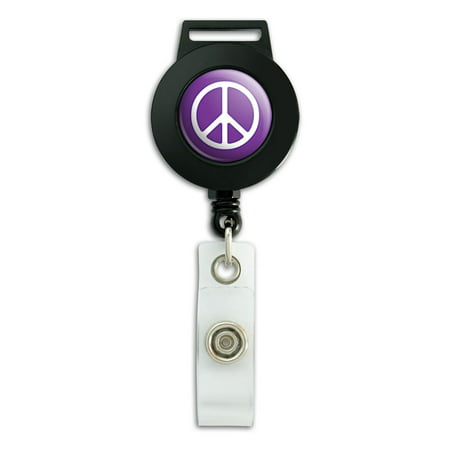 Rounded Peace Sign Symbol Purple Retractable Badge Card ID Holder (Vital Signs Badge Cards)