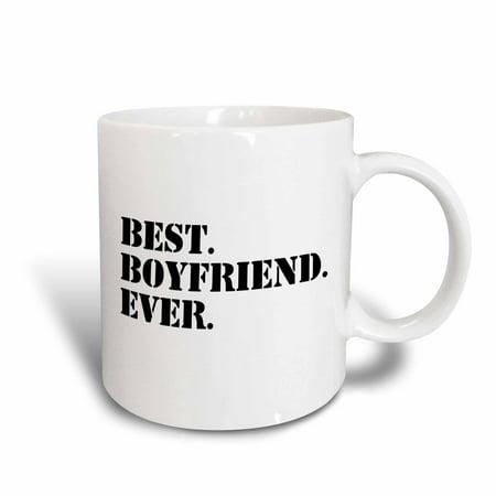 3dRose Best Boyfriend Ever, Gifts for him, Anniversary, Valentines Day, black text, Ceramic Mug,