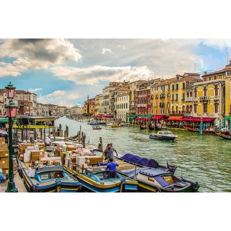 Framed Art for Your Wall Boats Venezia Water Canal Italian Grand Venice 10x13 Frame