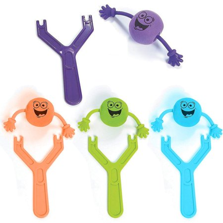 Silly Flying Slingshot Shooters – Pack Of 4 - Party Favors- For Kids And Adults- Great Party Favors, Bag Stuffers, Fun, Gift, Prize– Kids toys, etc.- By Kidsco (Cheap Prizes For Adults)
