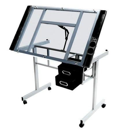 Yaheetech Adjustable Drafting Drawing table Rolling Drafting Desk Tempered Glass (Grass Drawer Slides)