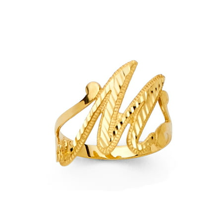 "FB Jewels 14K Yellow Gold Initial Letter Fashion Anniversary Ring ""D"" Size 5"