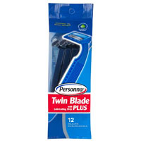 Personna Long Handle Twin Blade Plus Disposable Razor With Lubricating Strip - 12 Ea