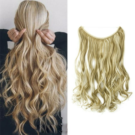 FLORATA Transparent Invisible Wire Fish Line NO Clip in Hair Extensions 22 Inch Straight Wavy Curly Synthetic (Best Products To Get Beach Wavy Hair)