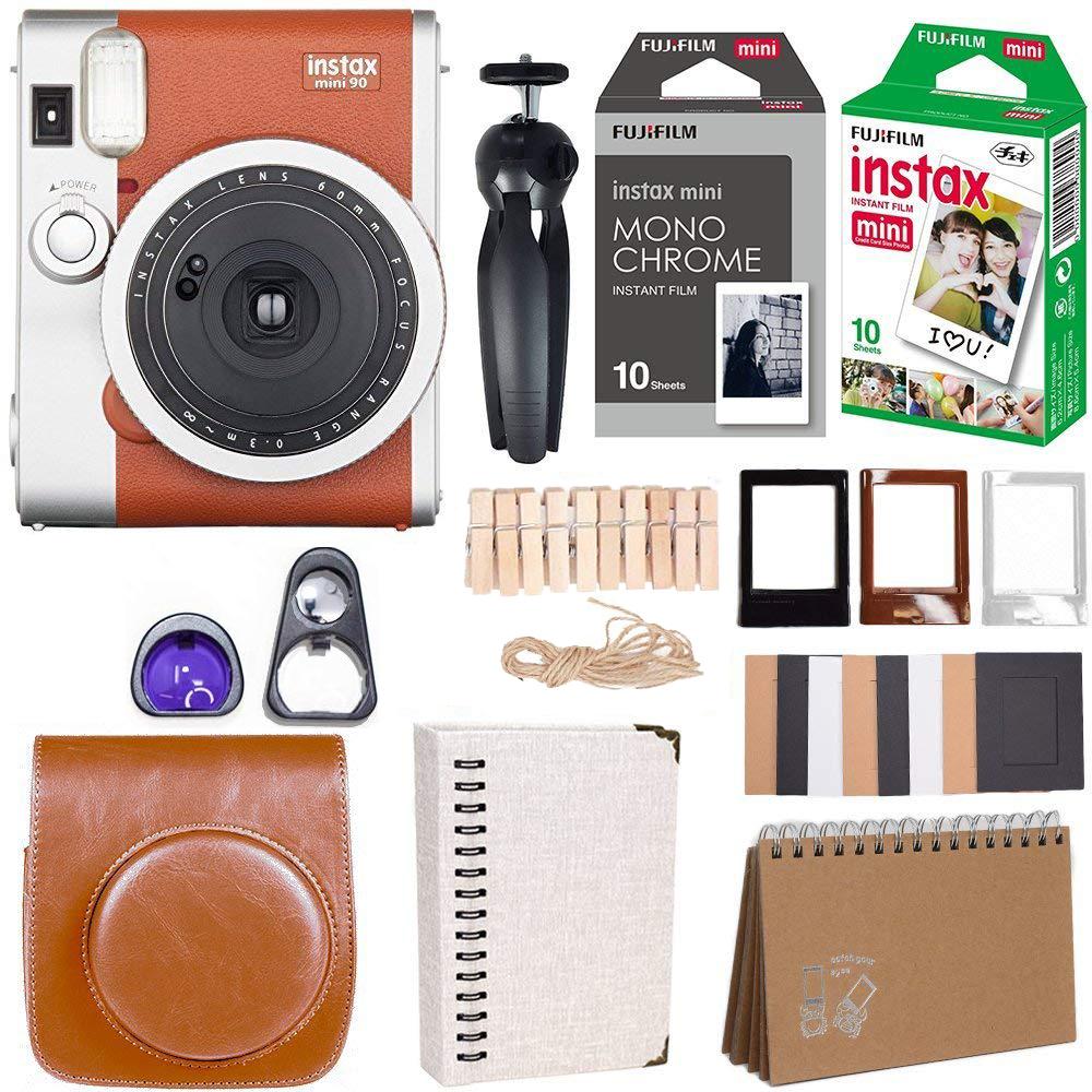 Instax Mini 90 Instant Camera + Fuji Instax Film (20 Sheets) + Accessories Bundle