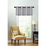 Oversized Soid Colored Grommet Top Textured Window Valance - Gray
