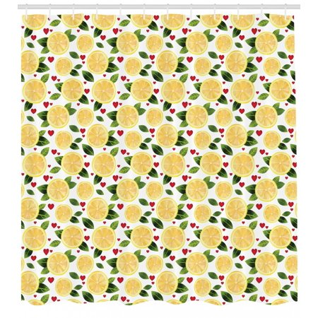Lemon Shower Curtain Slices With Leaves And Hearts Kitchen Menu Valentines Care Pattern