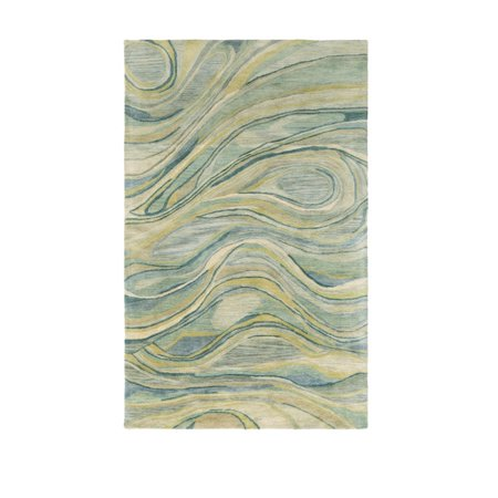 2' x 3' Feathery Breeze Mimosa Yellow and Sage Green Wool Area Throw Rug