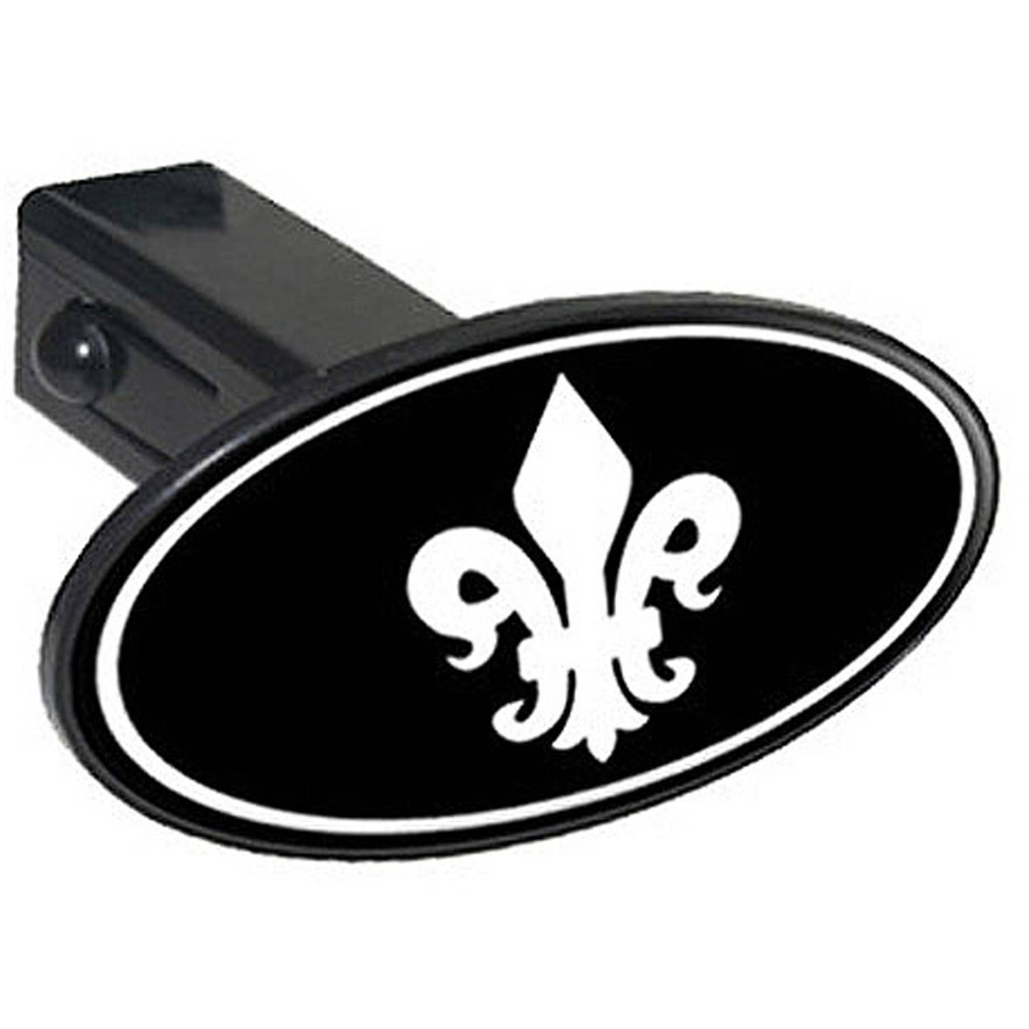 "Fleur De Lis White On Black 1.25"" Oval Tow Trailer Hitch Cover Plug Insert"