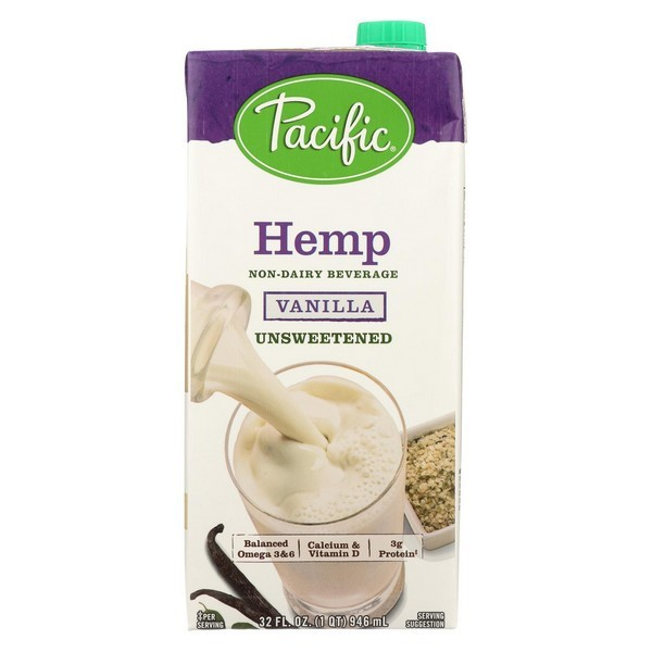 Pacific Natural Foods Hemp Vanilla - Unsweetened - pack of 12 - 32 Fl Oz.