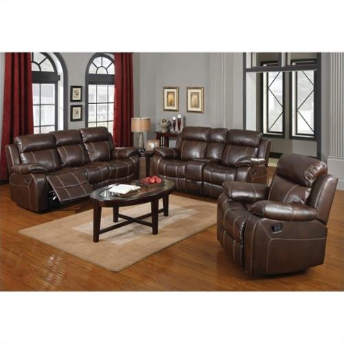 Coaster Myleene Leather 3 Piece Reclining Leather Sofa Set in Brown