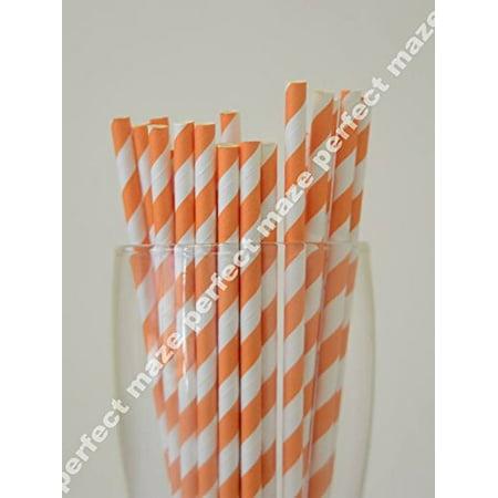Perfectmaze 25 Pieces Orange Striped Style Paper Straws for Wedding, Baby Shower, Birthday Party and - Orange Straws