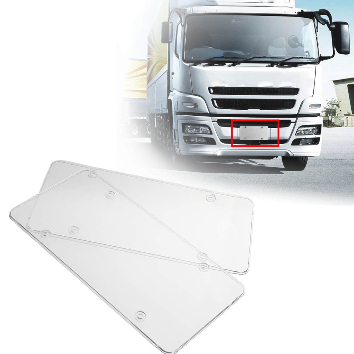 2Pcs Clear License Plate Cover Frame Cover Shield Protector Car Truck 6/'/' x 12/'