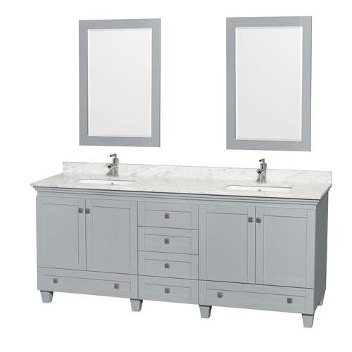 """Wyndham Collection Acclaim 80"""" Double Bathroom Vanity in Oyster Gray, White Carrera Marble Countertop, Undermount Square Sinks and 24"""" Mirrors"""