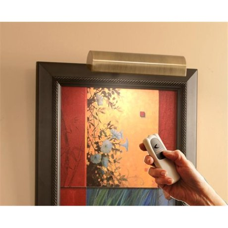 Concept Lighting 202L Slimline Antique Brass 8 In Cordless LED Remote Control Picture Light