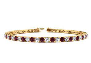 8 Inch 3 1 2 Carat Garnet And Diamond Tennis Bracelet In 14K Yellow Gold by