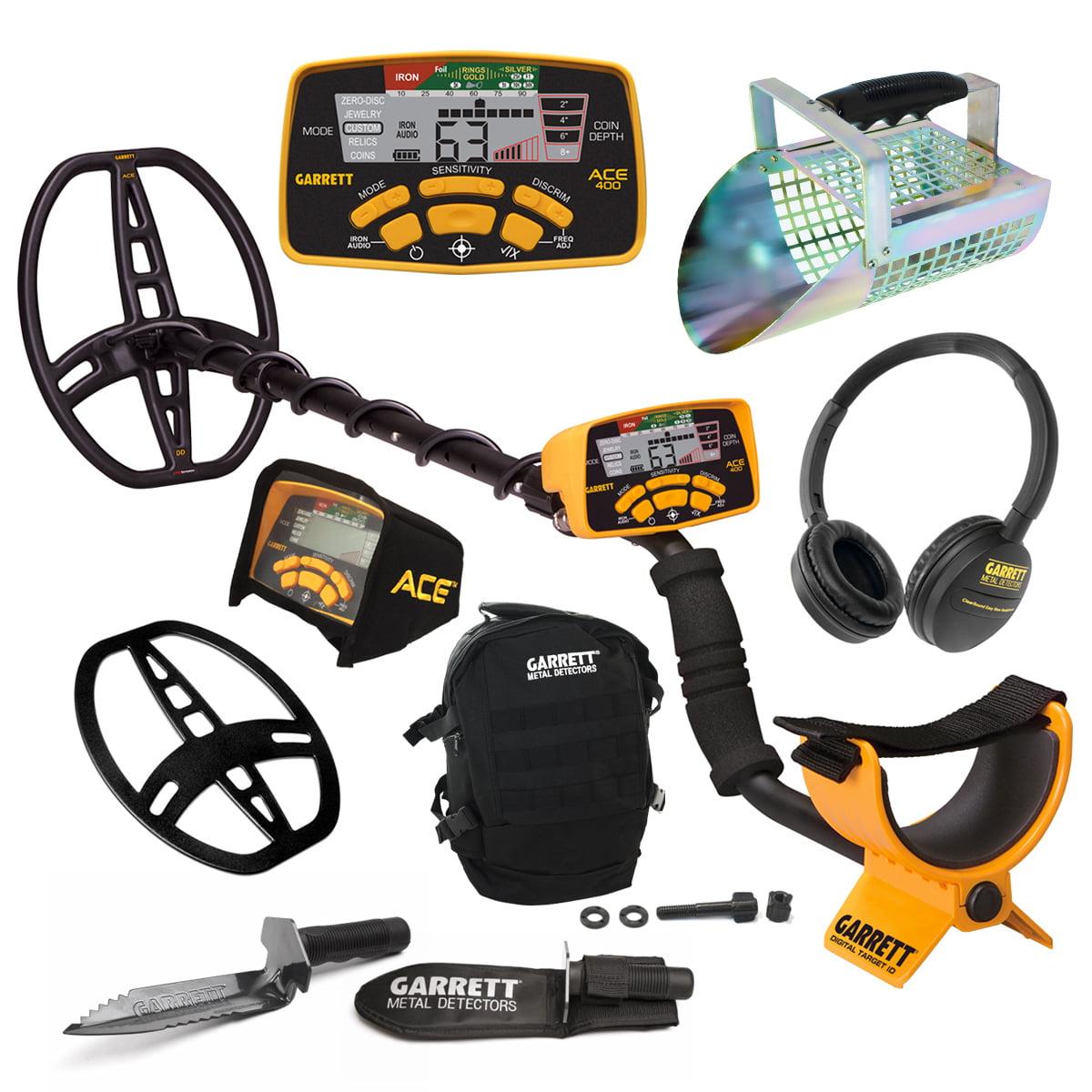 Garrett ACE 400 Metal Detector w/ DD Coil, Edge Digger, D...