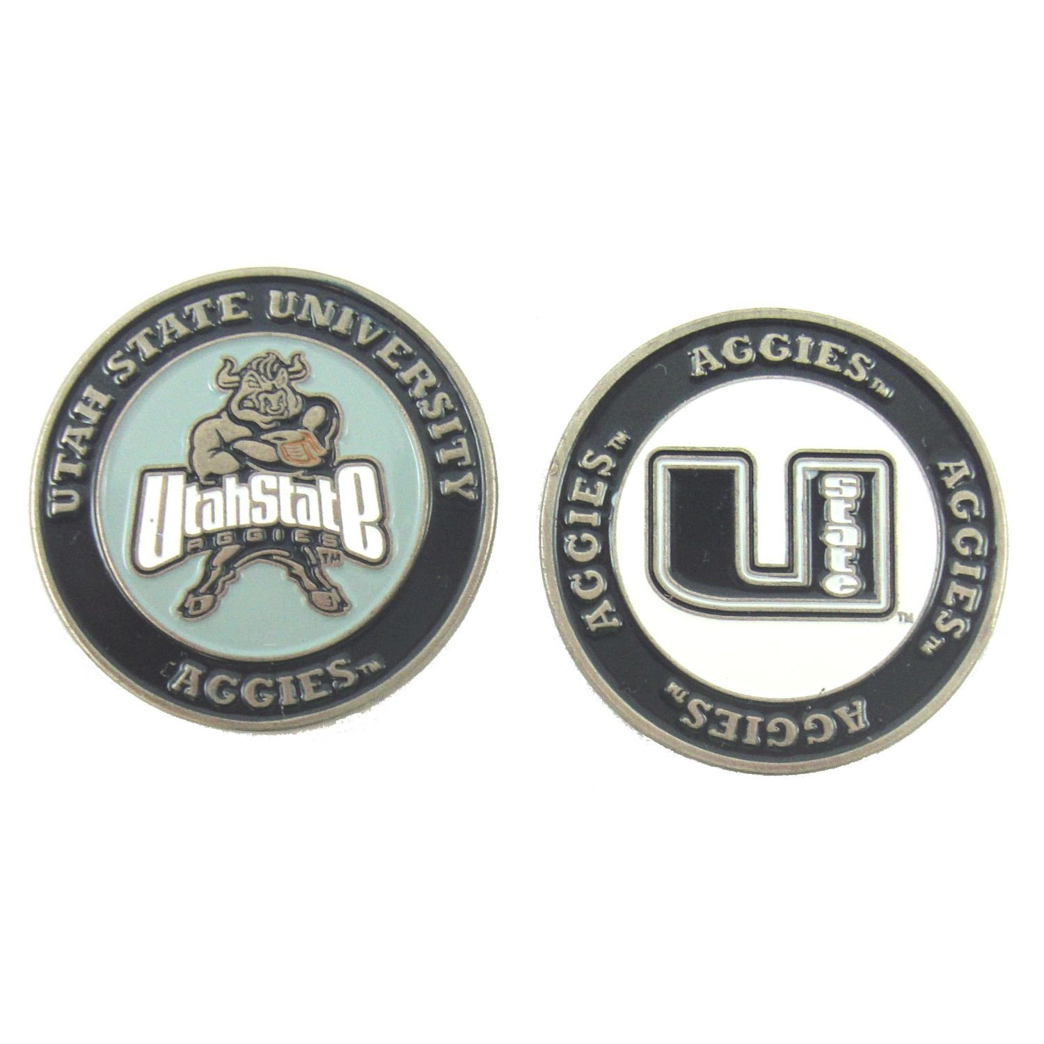 Utah State Aggies NCAA Double-Sided Golf Ball Marker, 1 Team Logo Double Sided Ball Marker By Waggle Pro Shop,USA