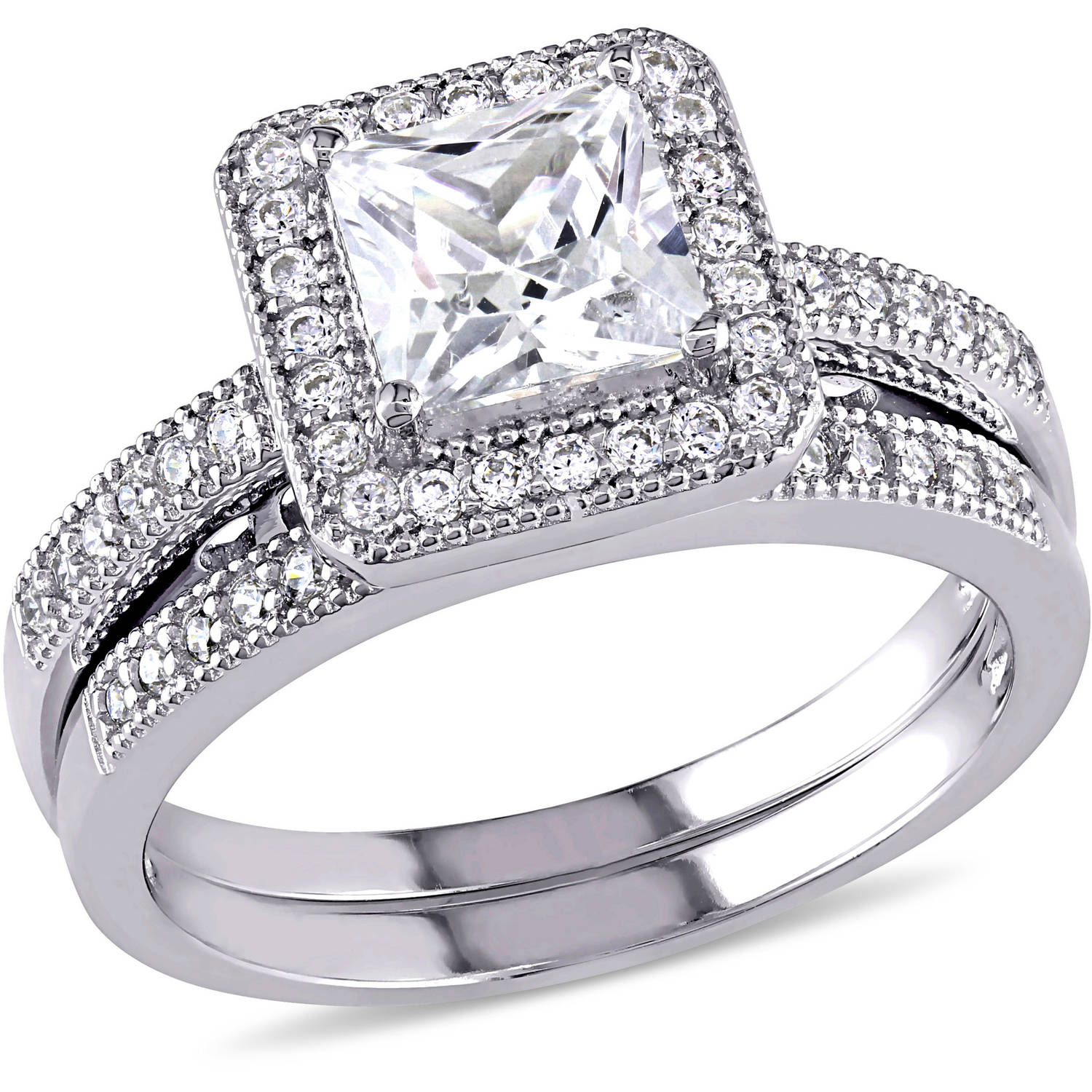 Miabella 2.34 Carat T.G.W. Princess and Round-Cut Cubic Zirconia Sterling Silver Halo Bridal Set by Generic