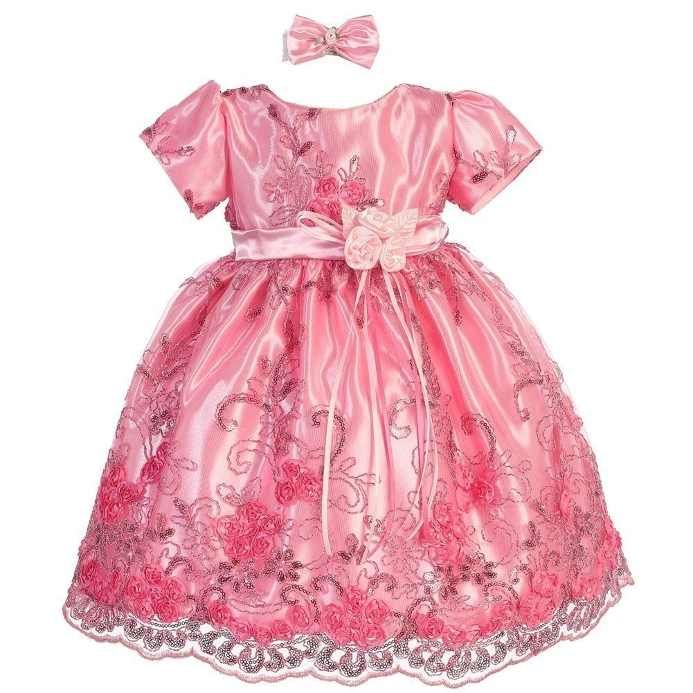 Baby Girls Pink Glitter Floral Embroidered Hair Bow Flower Girl Dress 6-9M