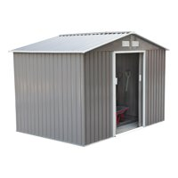 Outsunny Outdoor Metal Garden Shed Utility Tool Storage, Steel Backyard House with Sliding Door, Gray and White