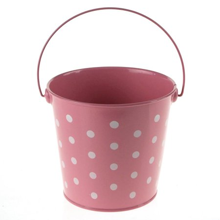Polka Dot Metal Pail Bucket Party Favor, 5-Inch, Light Pink - Colored Metal Buckets