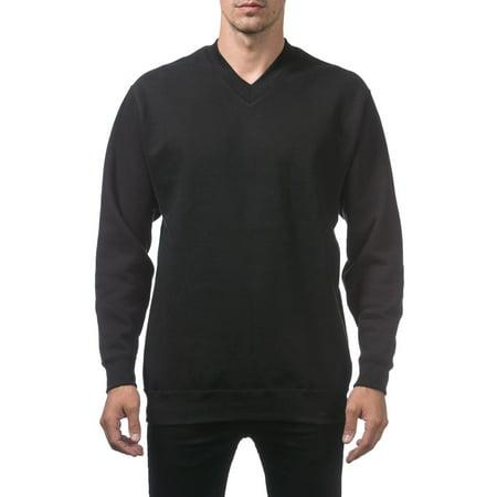 Pro Club Men's Heavyweight V-Neck Pullover Sweater, Small, Black