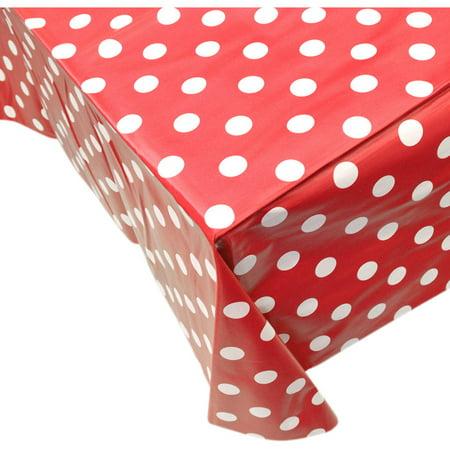 Berrnour Home Vinyl Tablecloth Red Polka Design Indoor/Outdoor ...