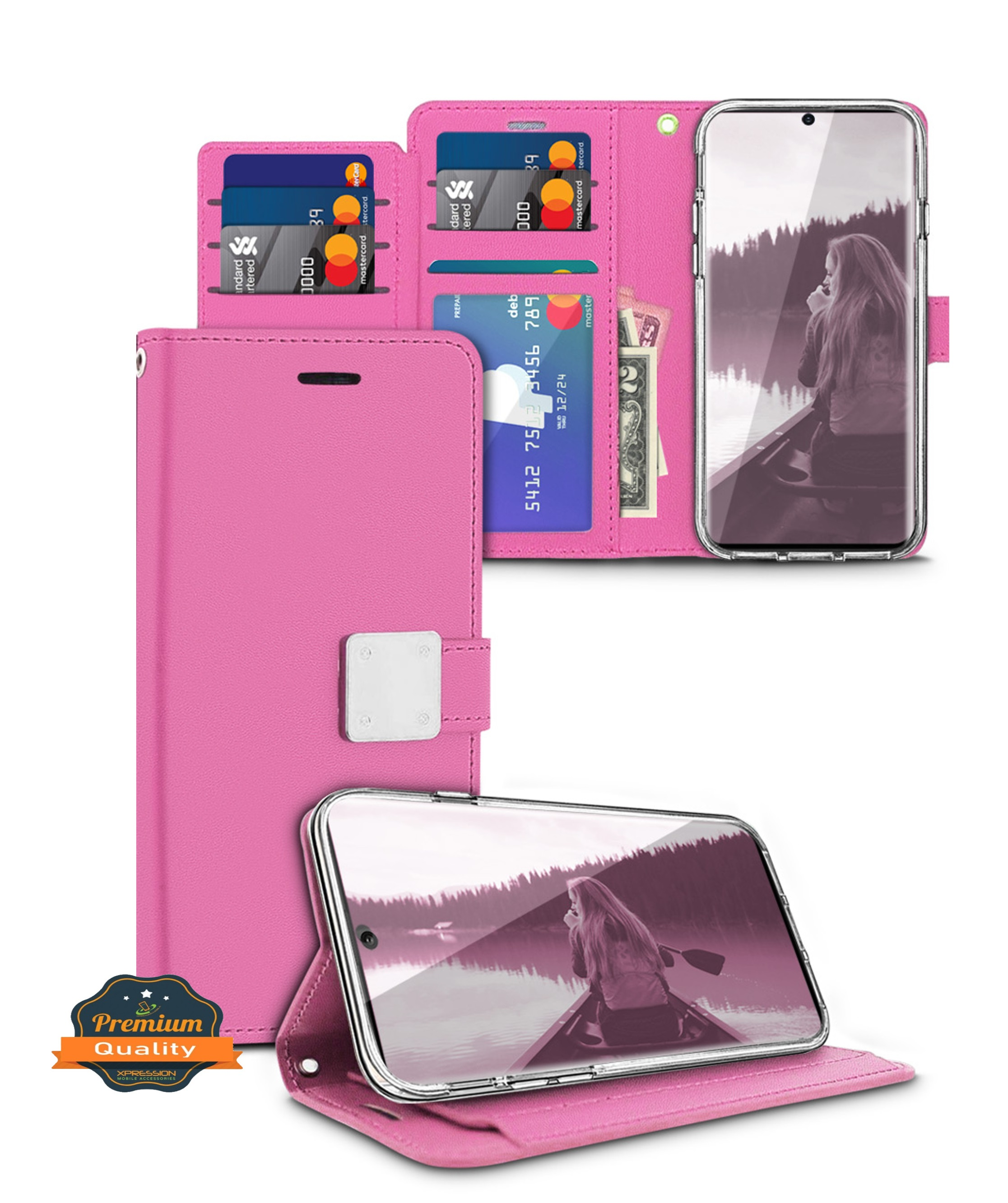 ID Slot CaseTop LG V20 Wallet Multi Card Holder Coral Blue Hand Grip Zipper Card Slots Folio PU Leather Cover With Detachable Magnetic Hard Case For LG V20