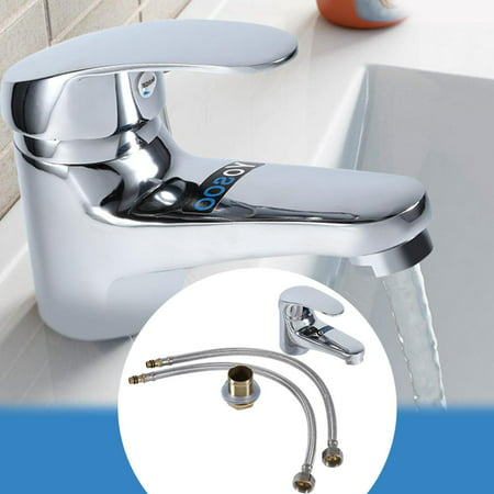 Taps Faucet,Ymiko Bathroom Basin Sink Mono Mixer Tap Chrome Single Lever Taps Faucet Free