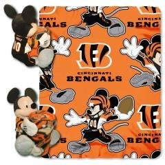 "Cincinnati Bengals 40""x50"" Mickey Mouse Infant Baby Blanket Hugger w/ Fleece Throw (NFL)"
