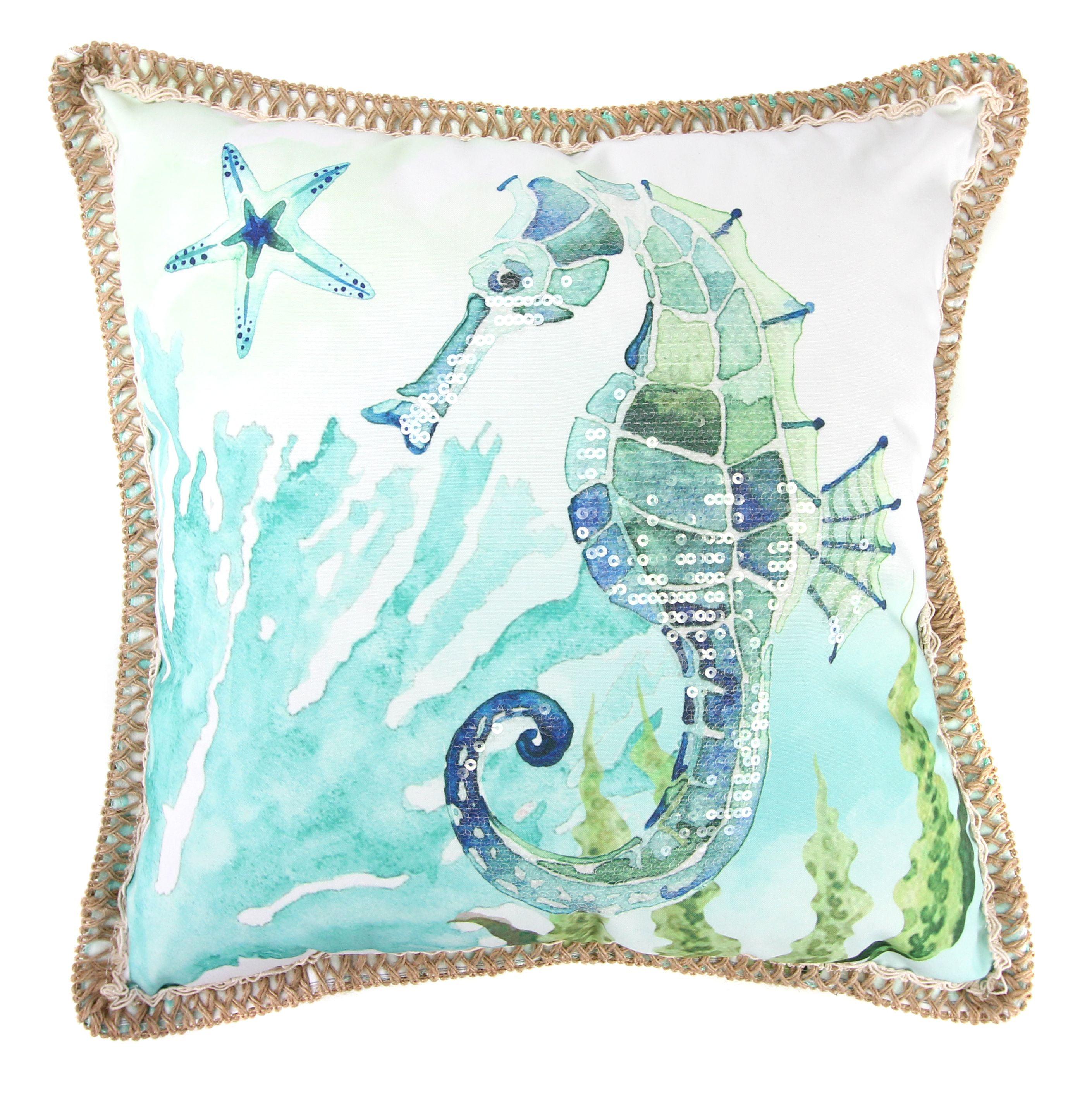 Sparkly Seahorse Sequins Print 18x18 Throw Pillow Walmart Com Walmart Com