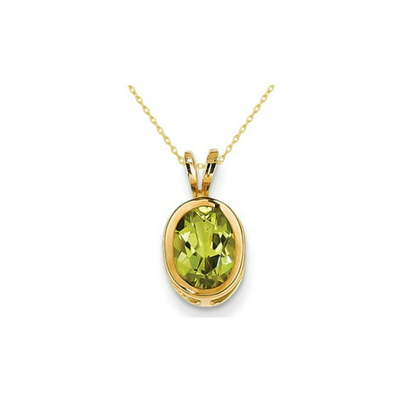 8x6mm Oval Green Peridot Pendant Necklace in 14K Yellow Gold Augusta Yellow Green