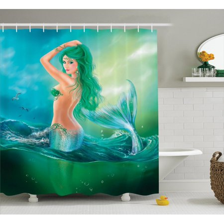 Mermaid Decor Shower Curtain Set, Mermaid In Ocean On Waves Tail Sea Creatures Dramatic Sky Dark Clouds, Bathroom Accessories, 69W X 70L Inches, By Ambesonne](Mermaid Creatures)
