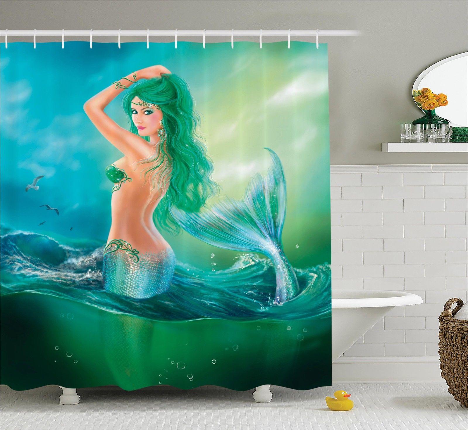 Mermaid Decor Shower Curtain Set, Mermaid In Ocean On Waves Tail Sea  Creatures Dramatic Sky