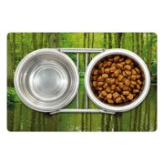 """Nature Pet Mat for Food and Water, Forest with Lake Dutch Garden Pastoral Woodland Botany Flowerbed Picture, Non-Slip Rubber Mat for Dogs and Cats, 18"""" X 12"""", by Ambesonne"""