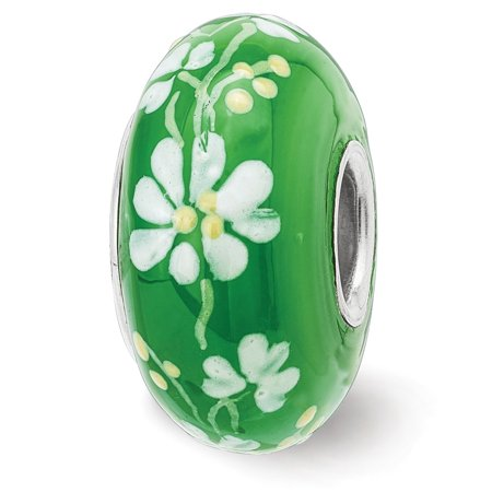 Solid 925 Sterling Silver Reflections Hand Painted An Irish Girl Fenton Glass Bead (14.7mm x 14.7mm)