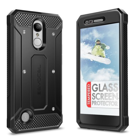 (LG Aristo Case, Evocel [Glass Screen Protector] [Belt Clip Holster] [Full Body] [Slim Profile] [Porthole Covers] Explorer Series Phone Case for LG Aristo (MS210)/ LG K4 (2017 Release), Black)