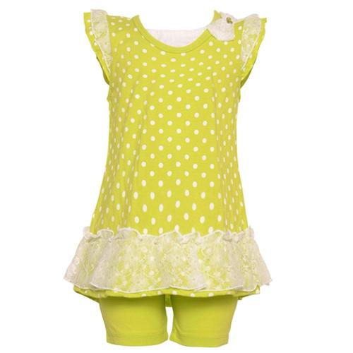 Buster Brown Little Girls Lime Polka Dot Lace Ruffle 2 Pc Legging Set 4