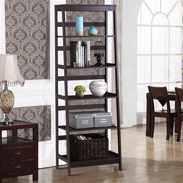Topeakmart 5 Shelf Bookcase Wooden Ladder Bookshelf Display Rack Espresso