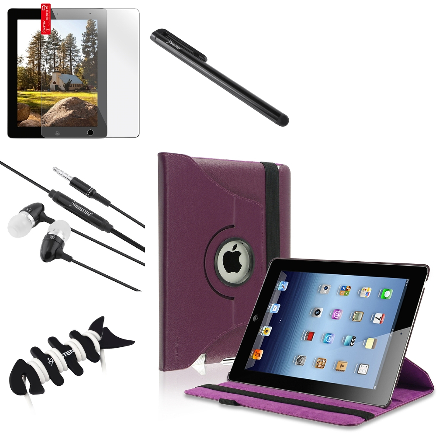 Insten Purple 360 Magnetic Leather Case+Film+Black Headset+Pen+Wrap for iPad 4/3/2 (Supports Auto Sleep/Wake)