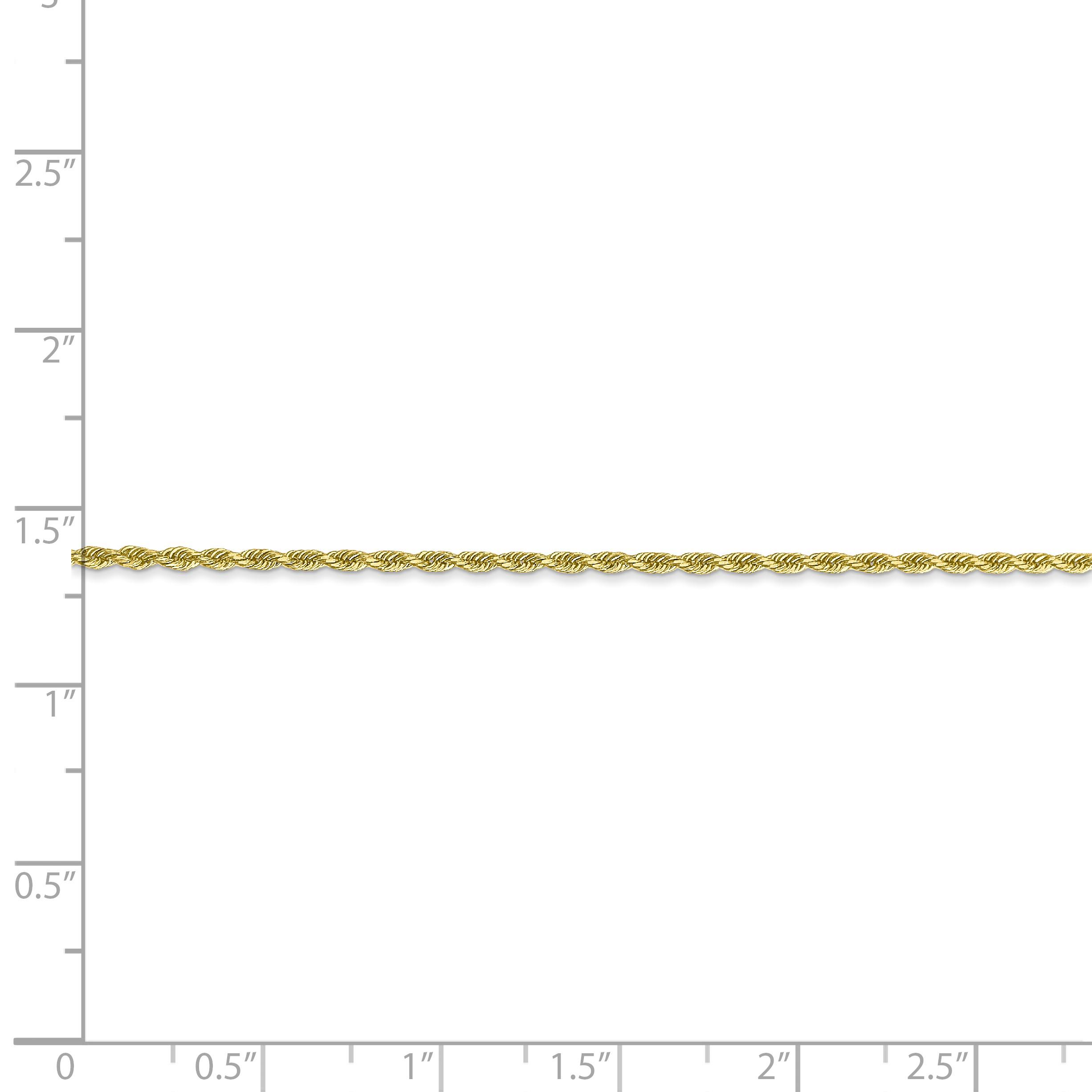 10K Yellow Gold 1.75mm Handmade Diamond Cut Rope Chain 24 Inch - image 2 of 5