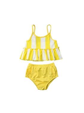 c473ea37b7 Product Image Summer Kids Baby Girl Stripe Swimming Tankini Bikini Set Swimwear  Swimsuit