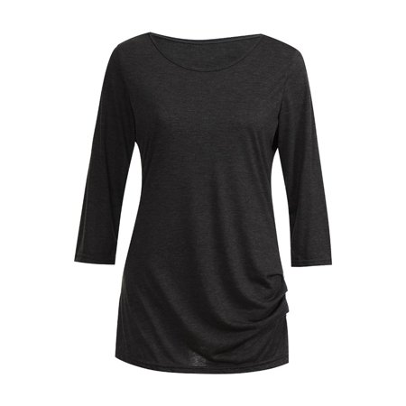 YJ529 Women T-shirt Round Collar Three-quarter Sleeve Tops with Button Decor - image 1 of 7